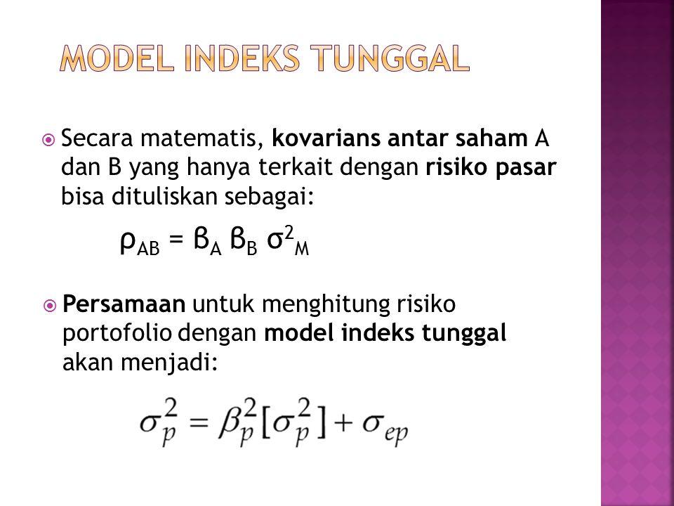  Secara matematis, kovarians antar saham A dan B yang hanya terkait dengan risiko pasar bisa dituliskan sebagai:  Persamaan untuk menghitung risiko portofolio dengan model indeks tunggal akan menjadi: ρ AB = β A β B σ 2 M