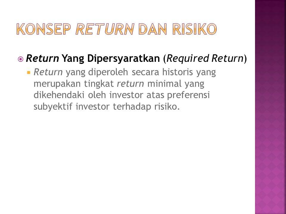  Return Yang Dipersyaratkan (Required Return)  Return yang diperoleh secara historis yang merupakan tingkat return minimal yang dikehendaki oleh investor atas preferensi subyektif investor terhadap risiko.
