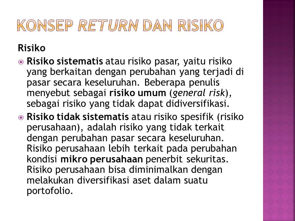 Risiko  Risiko sistematis atau risiko pasar, yaitu risiko yang berkaitan dengan perubahan yang terjadi di pasar secara keseluruhan. Beberapa penulis