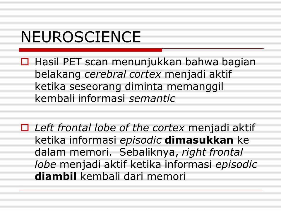 NEUROSCIENCE  Hasil PET scan menunjukkan bahwa bagian belakang cerebral cortex menjadi aktif ketika seseorang diminta memanggil kembali informasi semantic  Left frontal lobe of the cortex menjadi aktif ketika informasi episodic dimasukkan ke dalam memori.