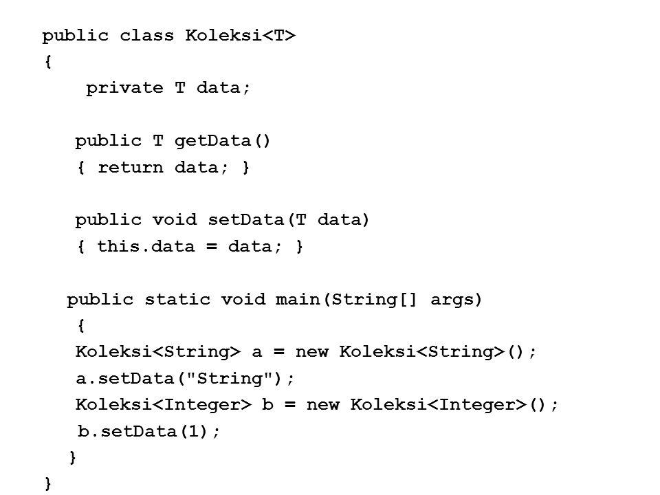 Generic Method Generic Programming dalam sebuah Metode, hanya berlaku untuk metode tersebut, tidak berlaku untuk metode yang lain dalam kelas yang sama.