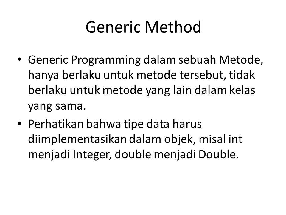 public class GenericMethodTest { // generic method printArray public static void printArray( E[] inputArray ) { for ( E element : inputArray ) System.out.printf( %s , element ); System.out.println(); } public static void main( String args[] ) { // create arrays of Integer, Double and Character Integer[] intArray = { 1, 2, 3, 4, 5 }; Double[] doubleArray = { 1.1, 2.2, 3.3, 4.4, 5.5, 6.6, 7.7 }; Character[] charArray = { H , E , L , L , O }; printArray( integerArray ); // pass an Integer array printArray( doubleArray ); // pass a Double array printArray( characterArray ); // pass a Character array }