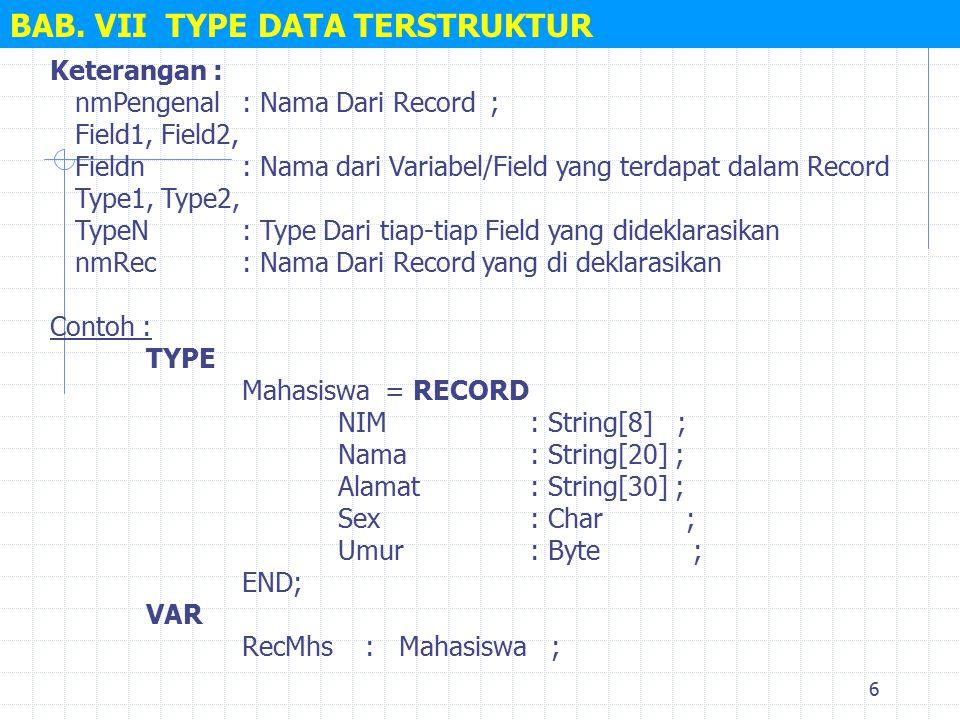7 BAB.VII TYPE DATA TERSTRUKTUR Dapat digunakan pada seluruh record atau sebagian record.