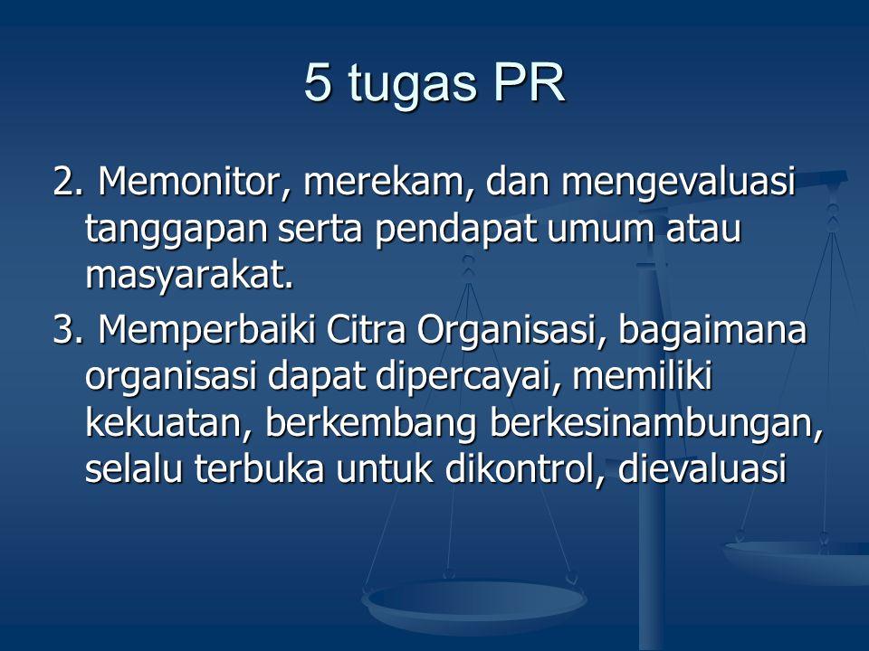 5 tugas PR 2. Memonitor, merekam, dan mengevaluasi tanggapan serta pendapat umum atau masyarakat. 3. Memperbaiki Citra Organisasi, bagaimana organisas