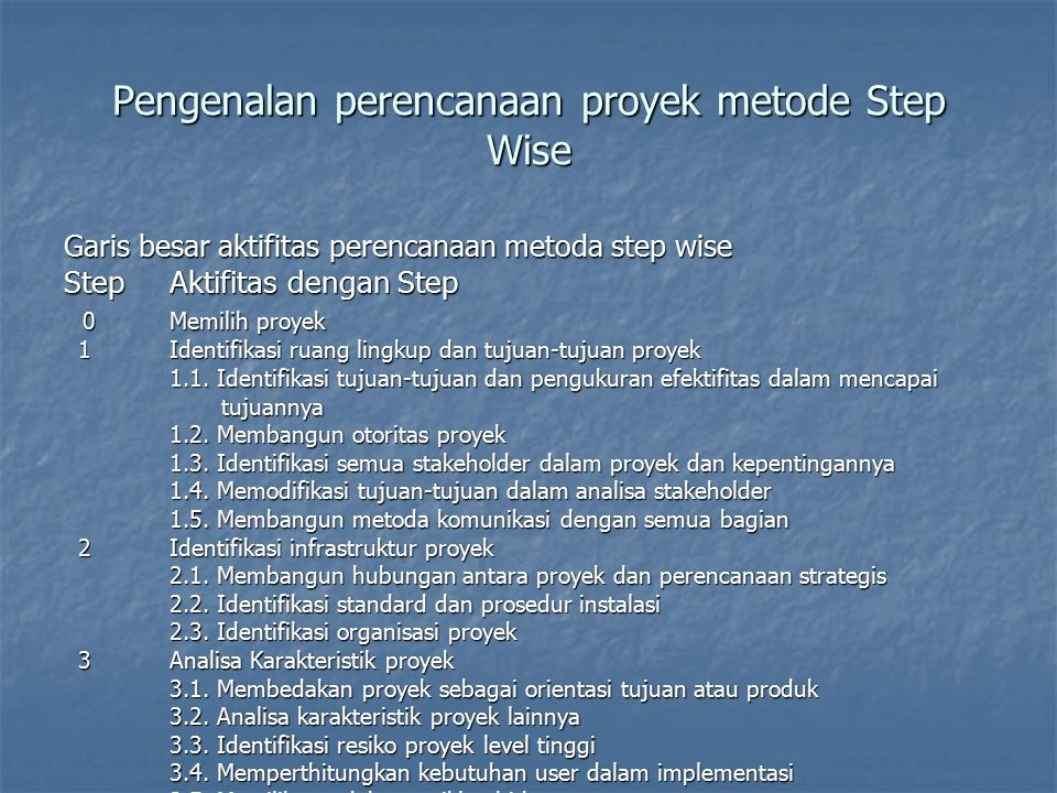 Pengenalan perencanaan proyek metode Step Wise StepAktifitas 4Identifikasi aktifitas dan produk proyek 4Identifikasi aktifitas dan produk proyek 4.1.