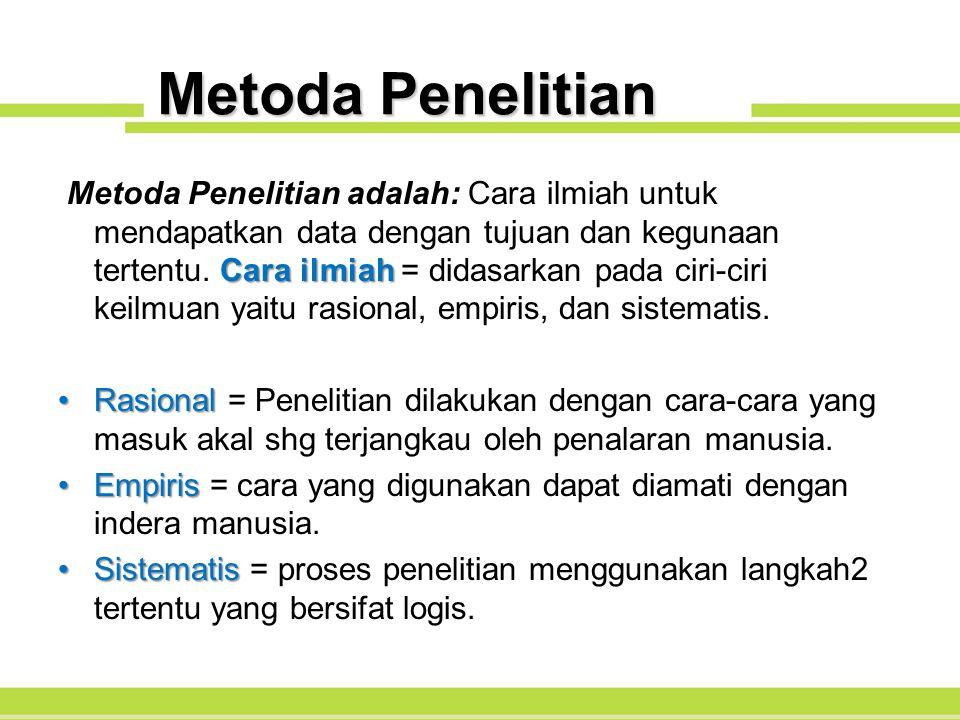 Metoda Penelitian Cara ilmiah Metoda Penelitian adalah: Cara ilmiah untuk mendapatkan data dengan tujuan dan kegunaan tertentu. Cara ilmiah = didasark