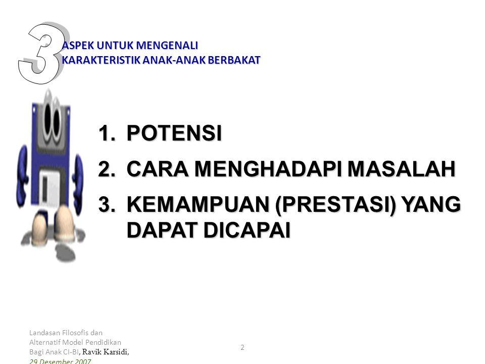 Landasan Filosofis dan Alternatif Model Pendidikan Bagi Anak CI-BI, Ravik Karsidi, 29 Desember 2007 2 1.POTENSI 2.CARA MENGHADAPI MASALAH 3.KEMAMPUAN (PRESTASI) YANG DAPAT DICAPAI ASPEK UNTUK MENGENALI KARAKTERISTIK ANAK-ANAK BERBAKAT