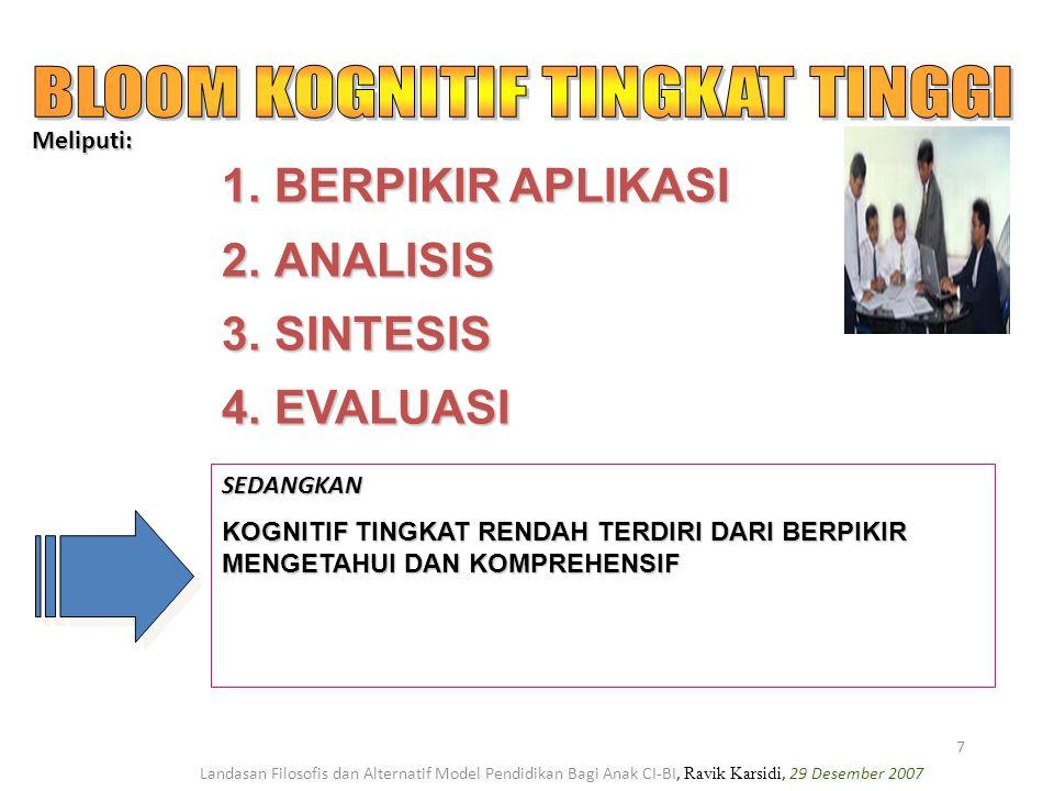 Landasan Filosofis dan Alternatif Model Pendidikan Bagi Anak CI-BI, Ravik Karsidi, 29 Desember 2007 7 1.BERPIKIR APLIKASI 2.ANALISIS 3.SINTESIS 4.EVAL