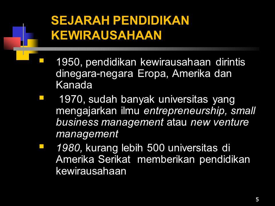 SEJARAH PENDIDIKAN KEWIRAUSAHAAN  1950, pendidikan kewirausahaan dirintis dinegara-negara Eropa, Amerika dan Kanada  1970, sudah banyak universitas