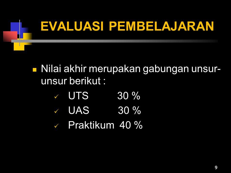 EVALUASI PEMBELAJARAN Nilai akhir merupakan gabungan unsur- unsur berikut : UTS 30 % UAS 30 % Praktikum 40 % 9