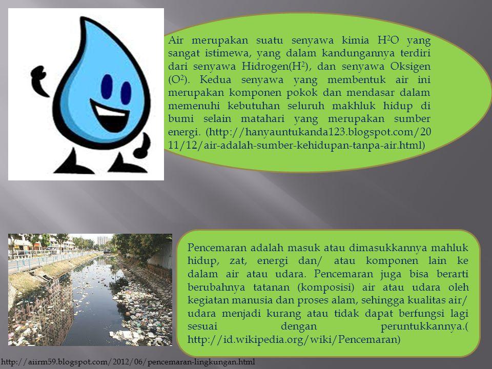 Air merupakan suatu senyawa kimia H 2 O yang sangat istimewa, yang dalam kandungannya terdiri dari senyawa Hidrogen(H 2 ), dan senyawa Oksigen (O 2 ).