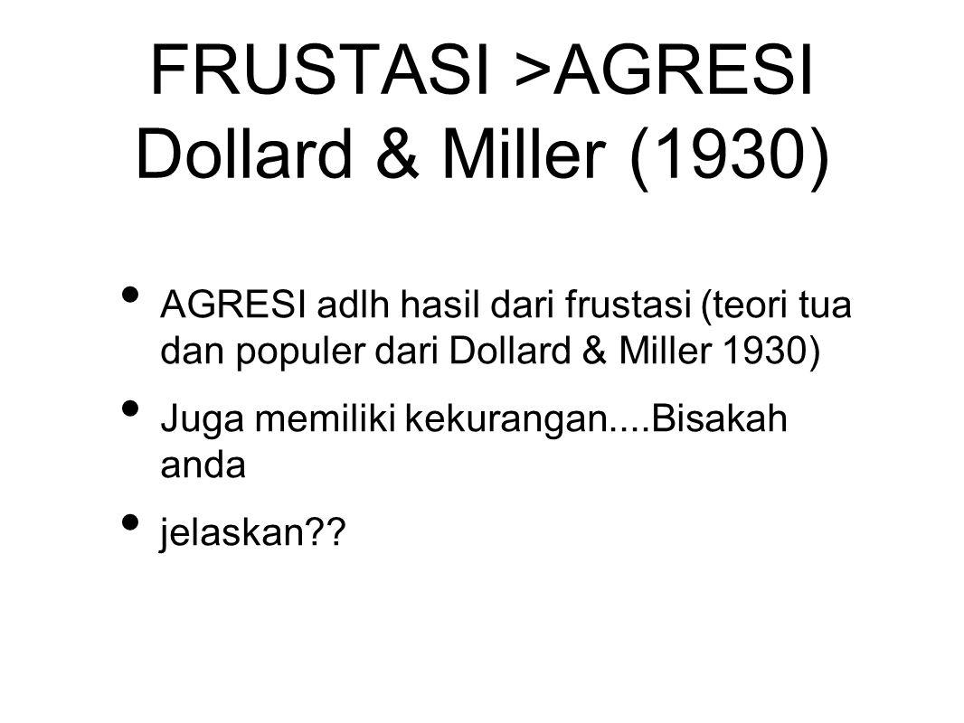 FRUSTASI >AGRESI Dollard & Miller (1930) AGRESI adlh hasil dari frustasi (teori tua dan populer dari Dollard & Miller 1930) Juga memiliki kekurangan....Bisakah anda jelaskan??