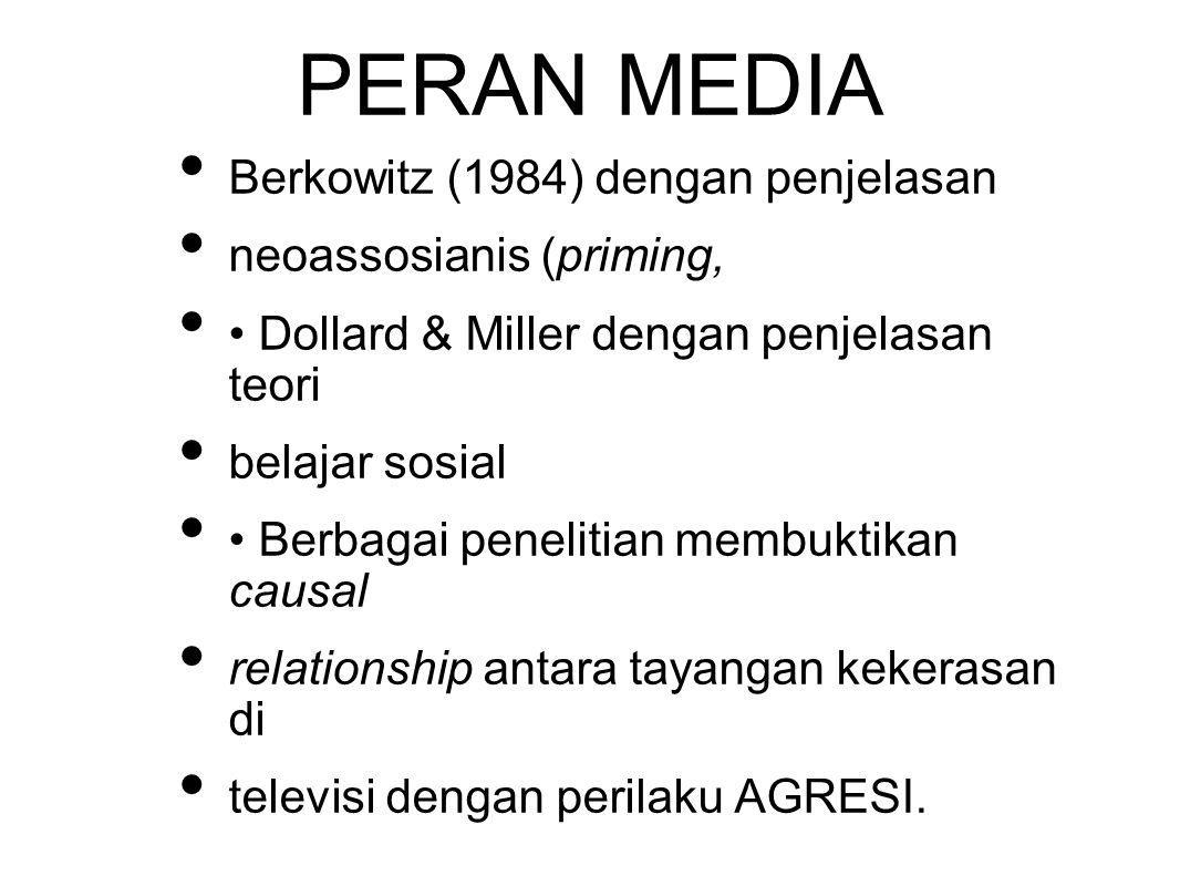 PERAN MEDIA Berkowitz (1984) dengan penjelasan neoassosianis (priming, Dollard & Miller dengan penjelasan teori belajar sosial Berbagai penelitian membuktikan causal relationship antara tayangan kekerasan di televisi dengan perilaku AGRESI.