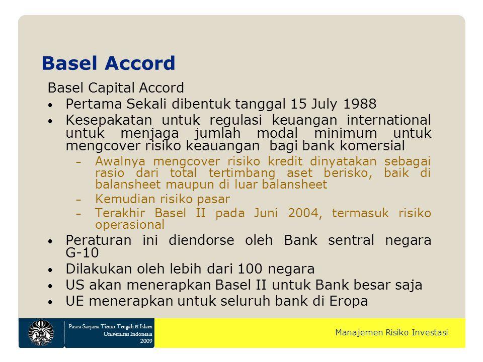 Pasca Sarjana Timur Tengah & Islam Universitas Indonesia 2009 Manajemen Risiko Investasi Basel Accord Basel Capital Accord Pertama Sekali dibentuk tan