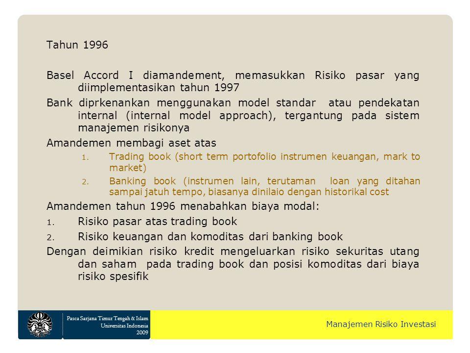 Pasca Sarjana Timur Tengah & Islam Universitas Indonesia 2009 Manajemen Risiko Investasi Basel Accord II Juni 2004 revisi basel accord I selesai dan di Eropa diterapkan di seluruh bank mulai tahun 2007 Amerika menerapkan Basel Accord I versi revisi dan hanya beberapa bank besar yang menerapkan Basel II pada tahun 2008 dengan masa transisi 3 tahun Framework ini terdiri dari 3 pilar: 1.