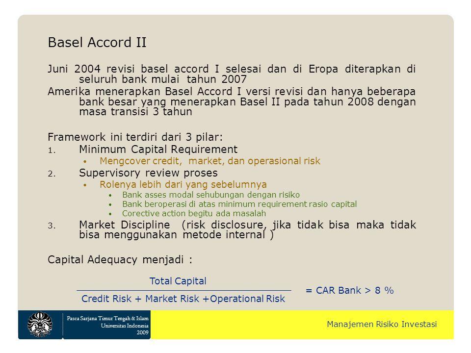 Pasca Sarjana Timur Tengah & Islam Universitas Indonesia 2009 Manajemen Risiko Investasi Basel Accord II Juni 2004 revisi basel accord I selesai dan d