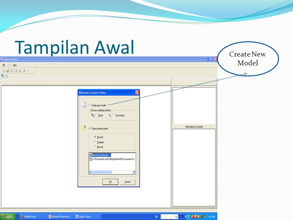 Tampilan Awal Create New Model