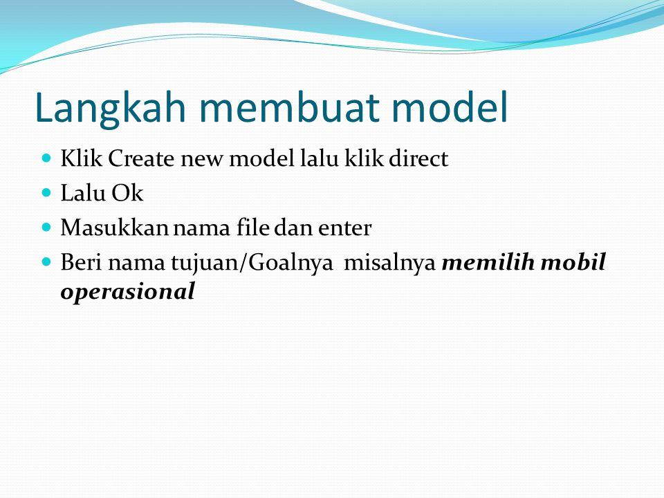 Langkah membuat model Klik Create new model lalu klik direct Lalu Ok Masukkan nama file dan enter Beri nama tujuan/Goalnya misalnya memilih mobil operasional