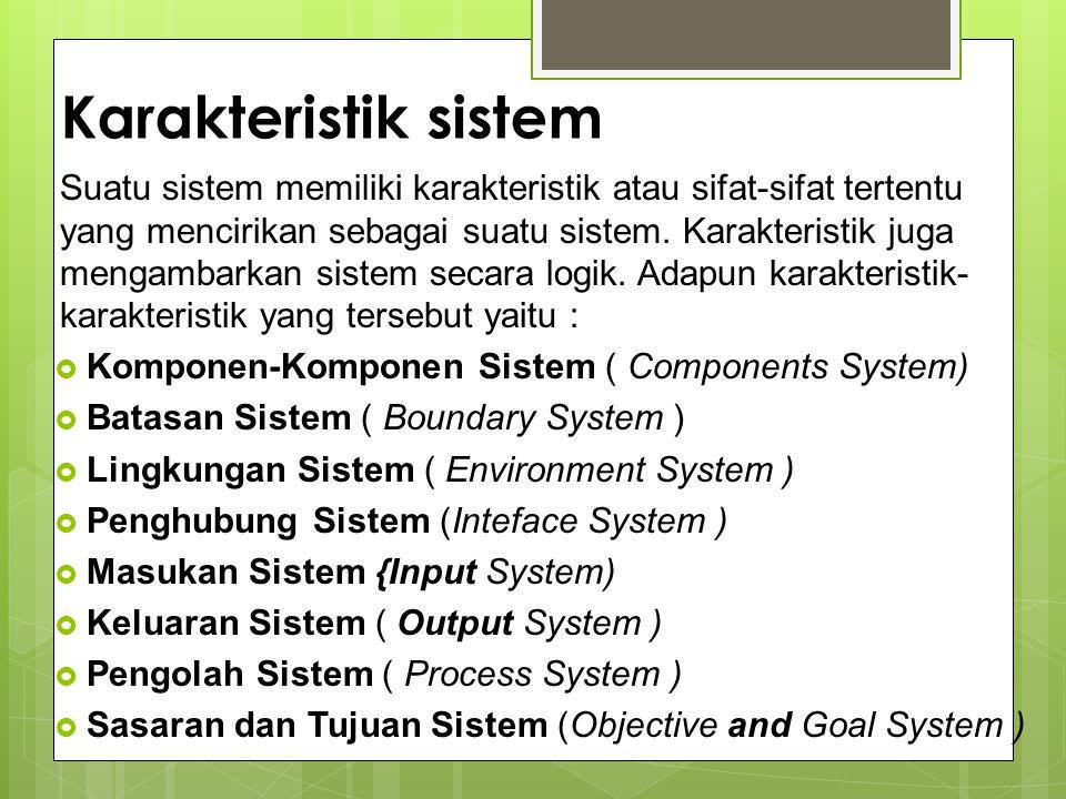Karakteristik sistem Suatu sistem memiliki karakteristik atau sifat-sifat tertentu yang mencirikan sebagai suatu sistem. Karakteristik juga mengambark