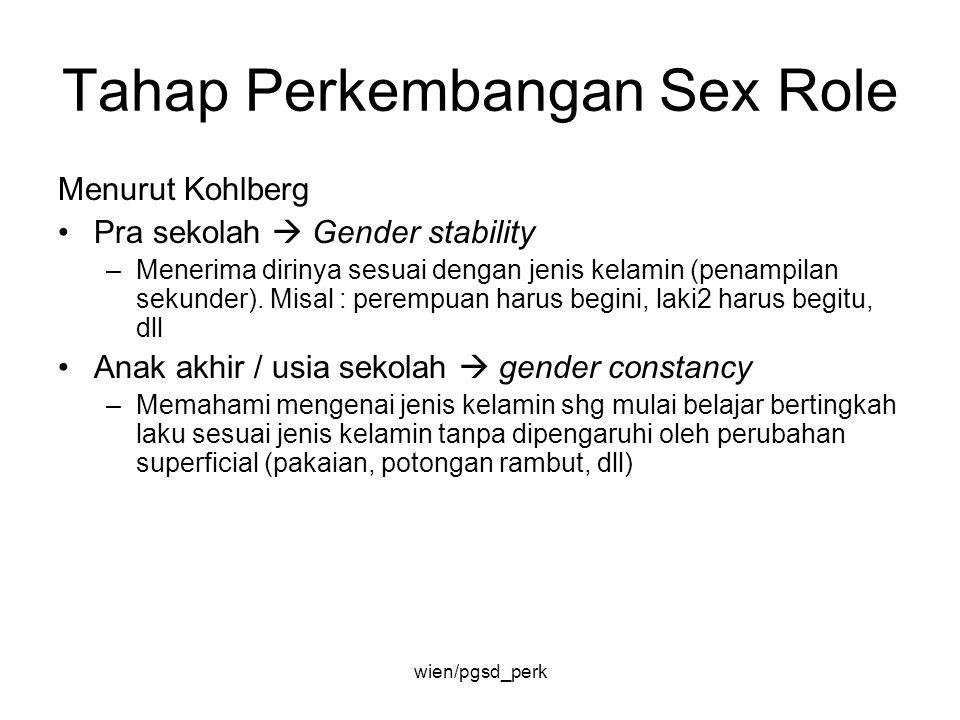 Tahap Perkembangan Sex Role Menurut Kohlberg Pra sekolah  Gender stability –Menerima dirinya sesuai dengan jenis kelamin (penampilan sekunder).