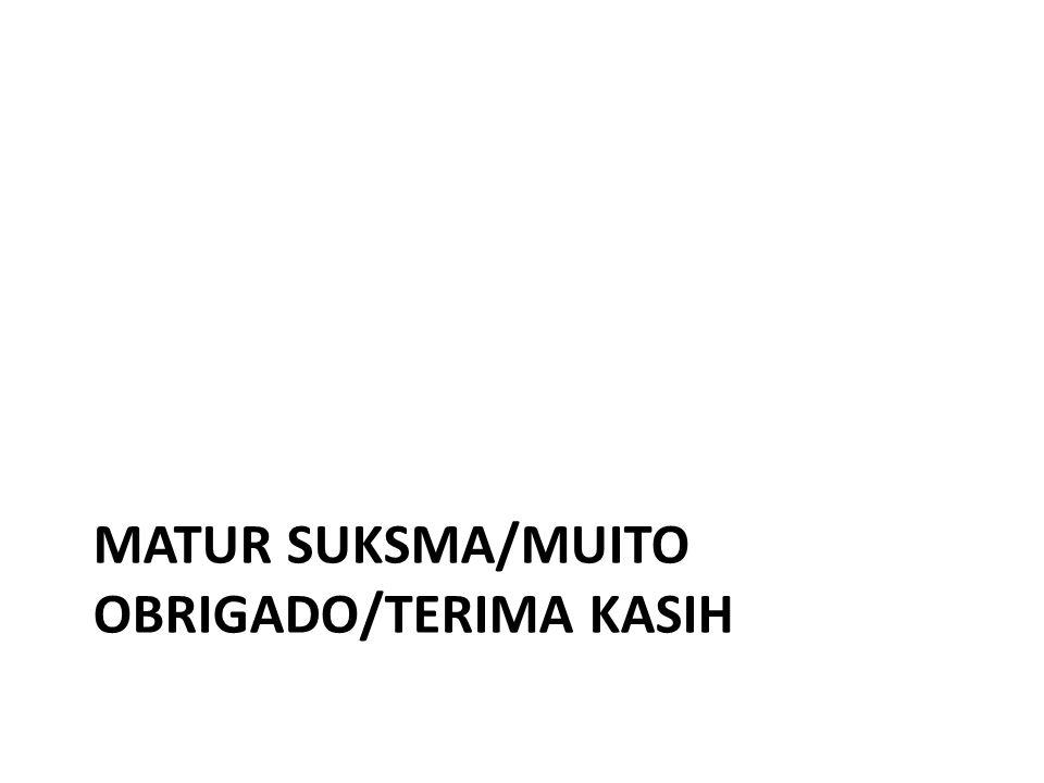 MATUR SUKSMA/MUITO OBRIGADO/TERIMA KASIH