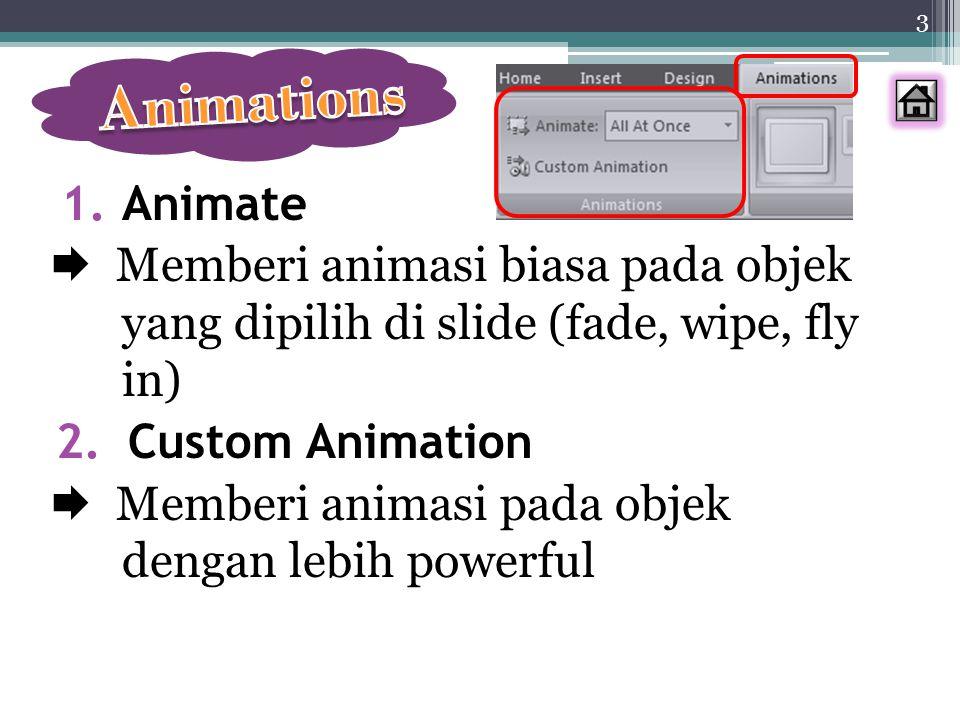 1.Animate  Memberi animasi biasa pada objek yang dipilih di slide (fade, wipe, fly in) 2.Custom Animation  Memberi animasi pada objek dengan lebih p