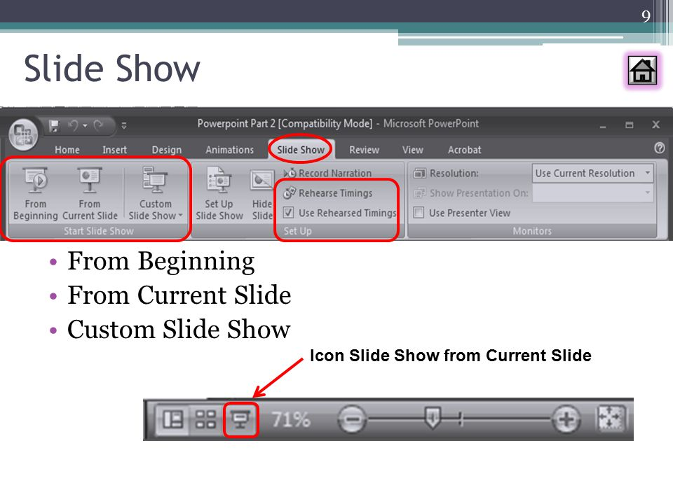 Action Settings Insert  Action Mouse Click / Mouse Over »None »Hyperlink to: slide, URL,.ppt, file lain »Run Program »Play sound »Highlight seakan-akan ditekan tombolnya Button 20