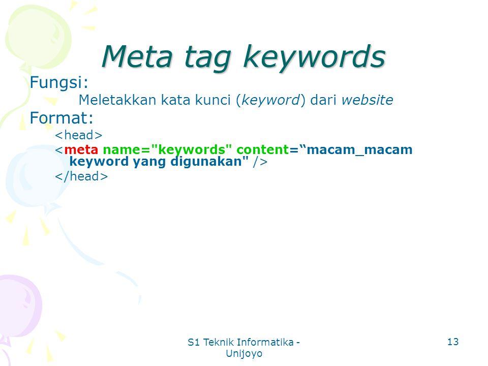 S1 Teknik Informatika - Unijoyo 13 Meta tag keywords Fungsi: Meletakkan kata kunci (keyword) dari website Format: