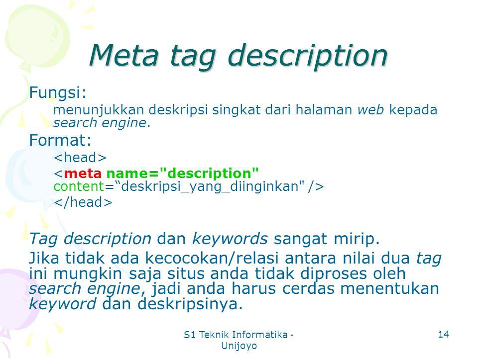 S1 Teknik Informatika - Unijoyo 14 Meta tag description Fungsi: menunjukkan deskripsi singkat dari halaman web kepada search engine.