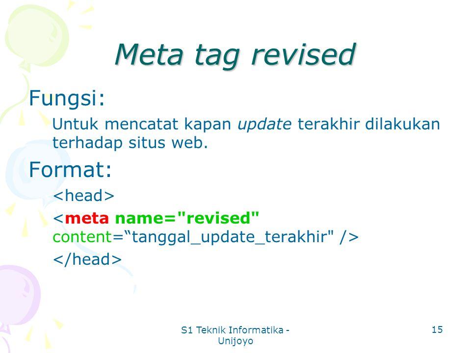 S1 Teknik Informatika - Unijoyo 15 Meta tag revised Fungsi: Untuk mencatat kapan update terakhir dilakukan terhadap situs web.