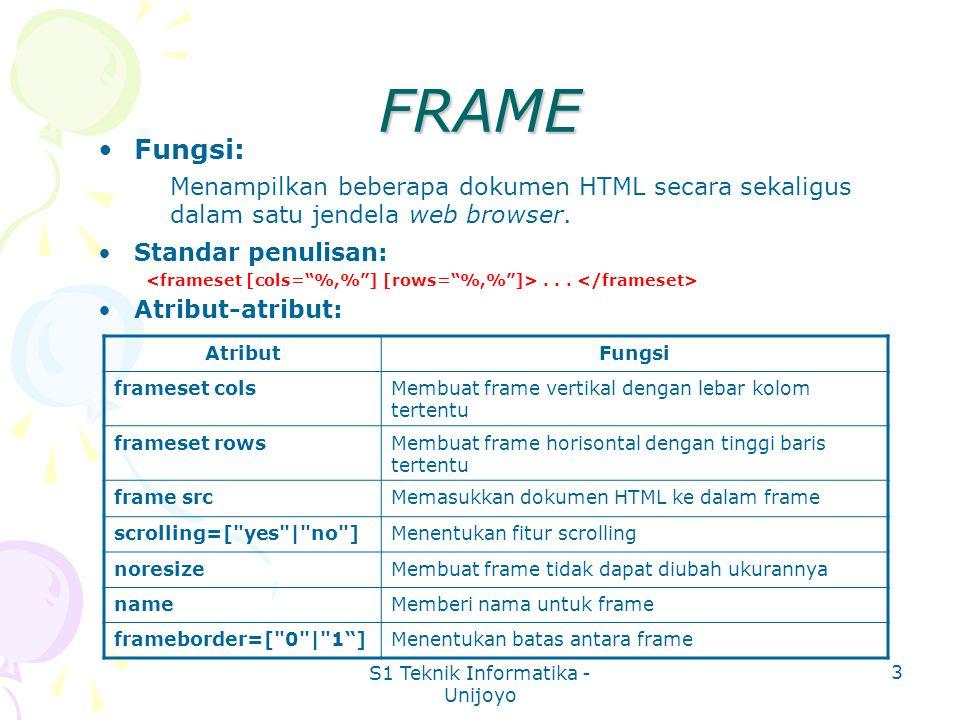 S1 Teknik Informatika - Unijoyo 3 FRAME Fungsi: Menampilkan beberapa dokumen HTML secara sekaligus dalam satu jendela web browser.
