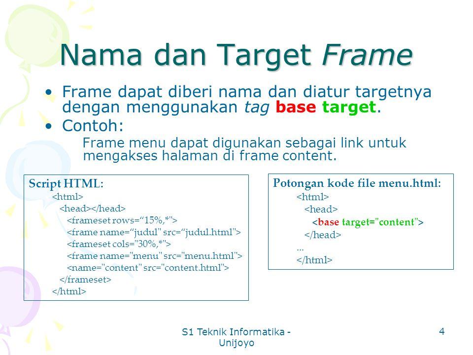 S1 Teknik Informatika - Unijoyo 4 Nama dan Target Frame Frame dapat diberi nama dan diatur targetnya dengan menggunakan tag base target.