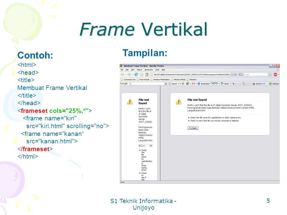 S1 Teknik Informatika - Unijoyo 5 Frame Vertikal Contoh: Membuat Frame Vertikal <frame name= kiri src= kiri.html scrolling= no > <frame name= kanan src= kanan.html > Tampilan: