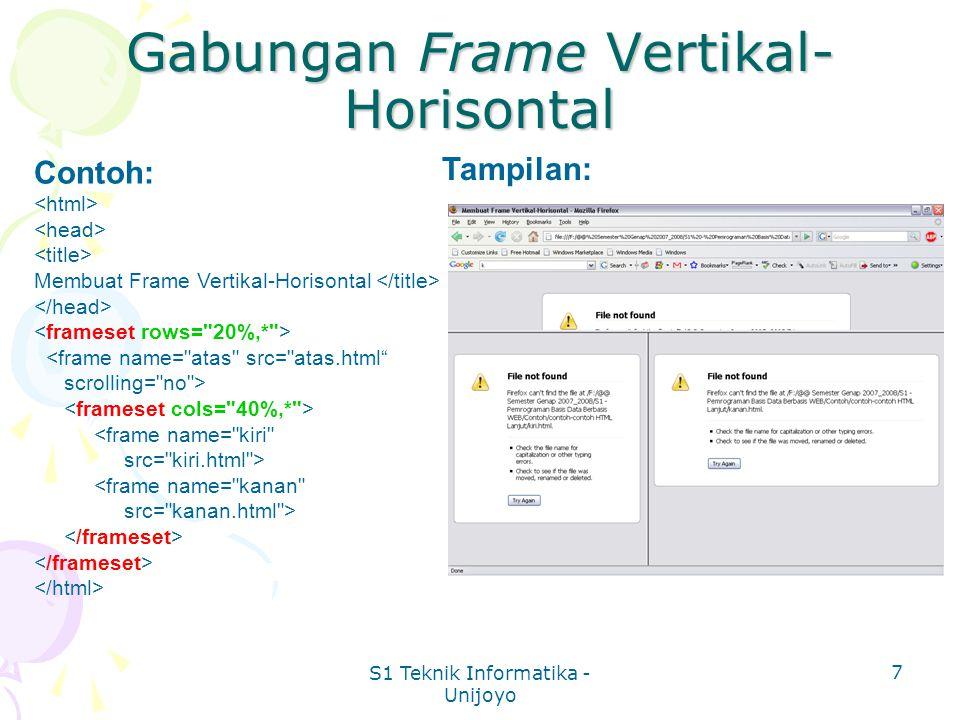 S1 Teknik Informatika - Unijoyo 7 Gabungan Frame Vertikal- Horisontal Contoh: Membuat Frame Vertikal-Horisontal <frame name= atas src= atas.html scrolling= no > <frame name= kiri src= kiri.html > <frame name= kanan src= kanan.html > Tampilan: