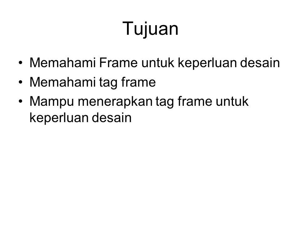 Tujuan Memahami Frame untuk keperluan desain Memahami tag frame Mampu menerapkan tag frame untuk keperluan desain