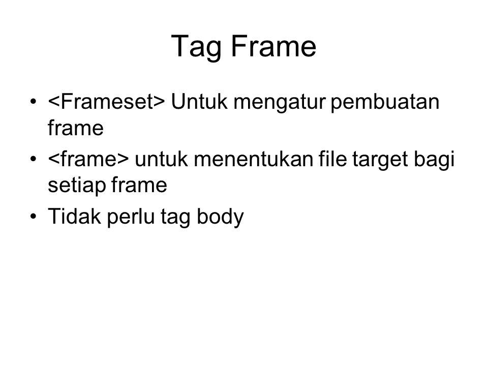 Tag Frame Untuk mengatur pembuatan frame untuk menentukan file target bagi setiap frame Tidak perlu tag body