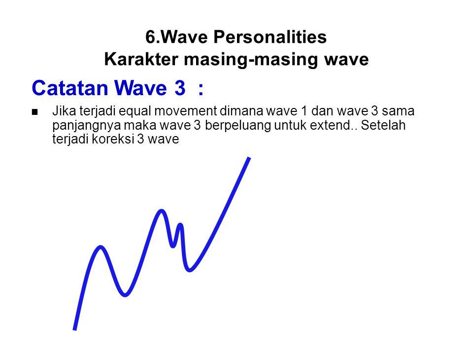 Catatan Wave 3 : Jika terjadi equal movement dimana wave 1 dan wave 3 sama panjangnya maka wave 3 berpeluang untuk extend.. Setelah terjadi koreksi 3