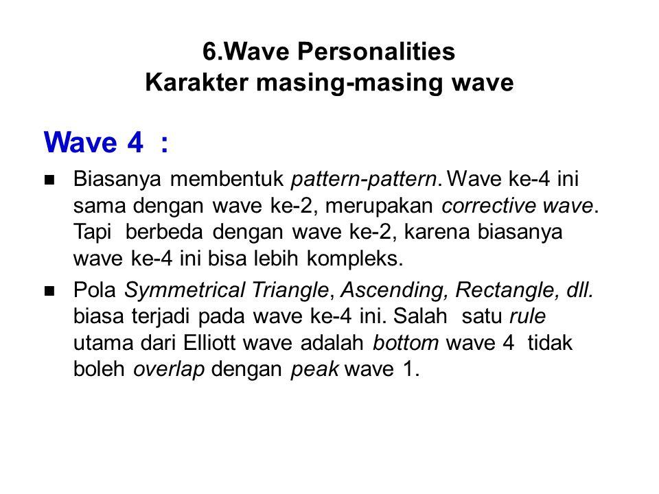 Wave 4 : Biasanya membentuk pattern-pattern. Wave ke-4 ini sama dengan wave ke-2, merupakan corrective wave. Tapi berbeda dengan wave ke-2, karena bia