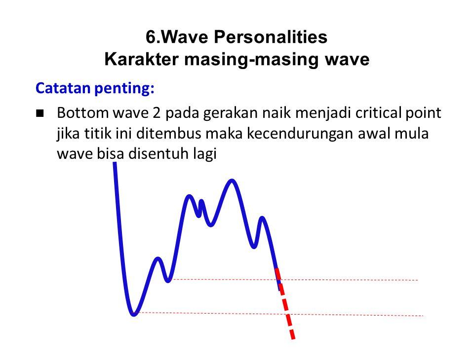 Catatan penting: Bottom wave 2 pada gerakan naik menjadi critical point jika titik ini ditembus maka kecendurungan awal mula wave bisa disentuh lagi 6
