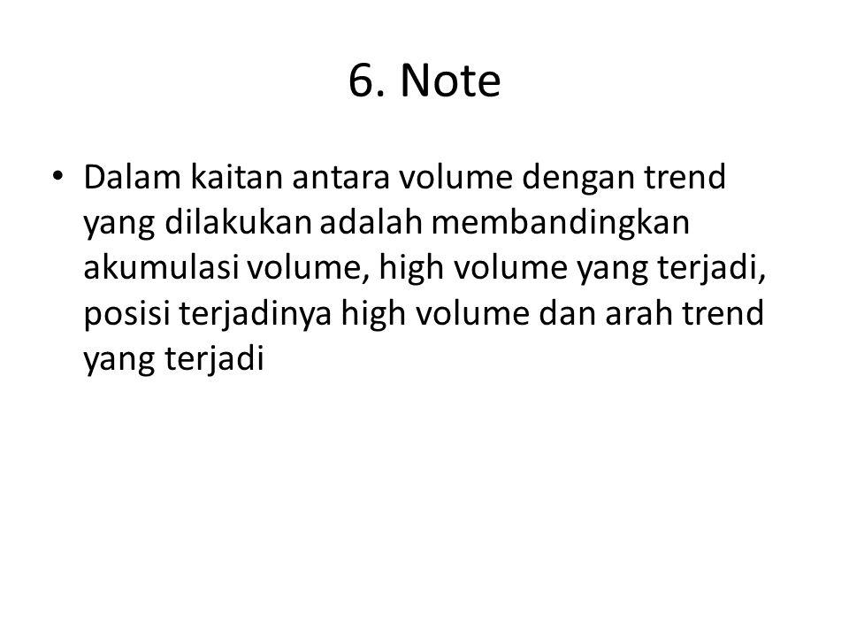 6. Note Dalam kaitan antara volume dengan trend yang dilakukan adalah membandingkan akumulasi volume, high volume yang terjadi, posisi terjadinya high