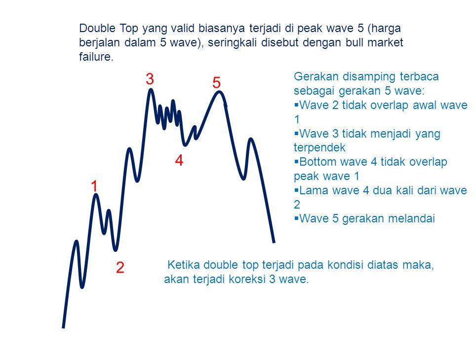 Double Top yang valid biasanya terjadi di peak wave 5 (harga berjalan dalam 5 wave), seringkali disebut dengan bull market failure. 1 2 3 4 5 Gerakan