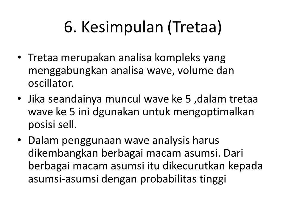 6. Kesimpulan (Tretaa) Tretaa merupakan analisa kompleks yang menggabungkan analisa wave, volume dan oscillator. Jika seandainya muncul wave ke 5,dala