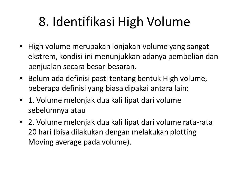8. Identifikasi High Volume High volume merupakan lonjakan volume yang sangat ekstrem, kondisi ini menunjukkan adanya pembelian dan penjualan secara b