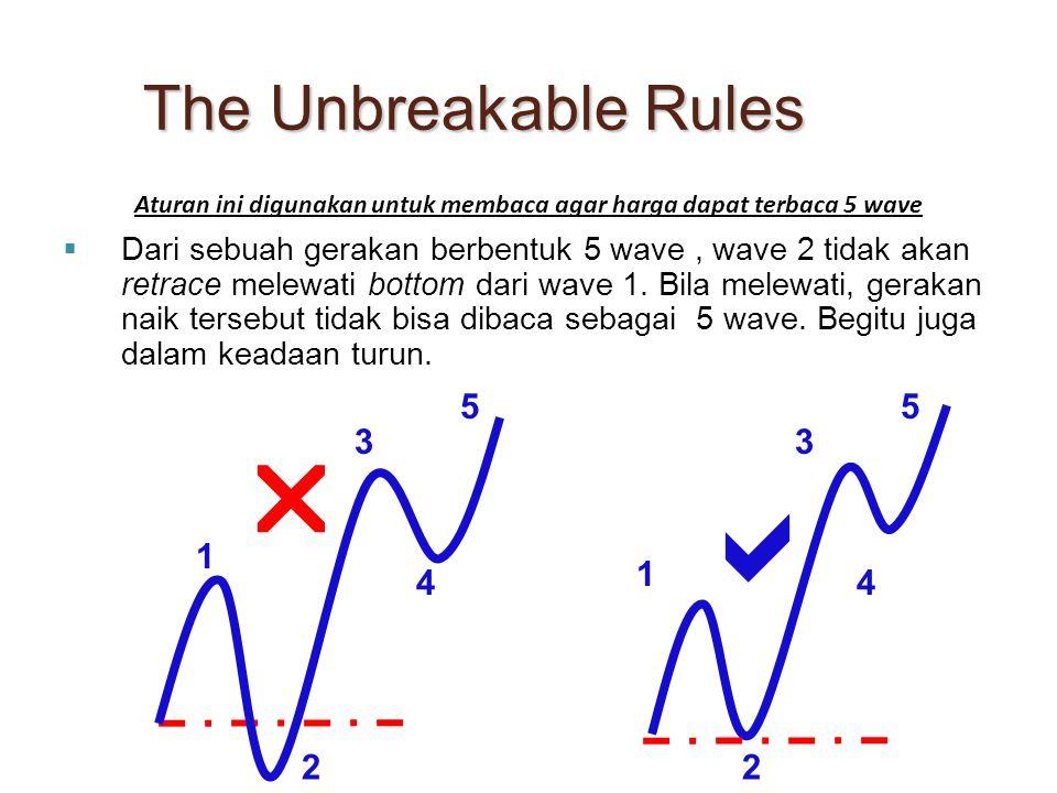  Dari sebuah gerakan berbentuk 5 wave, wave 2 tidak akan retrace melewati bottom dari wave 1. Bila melewati, gerakan naik tersebut tidak bisa dibaca