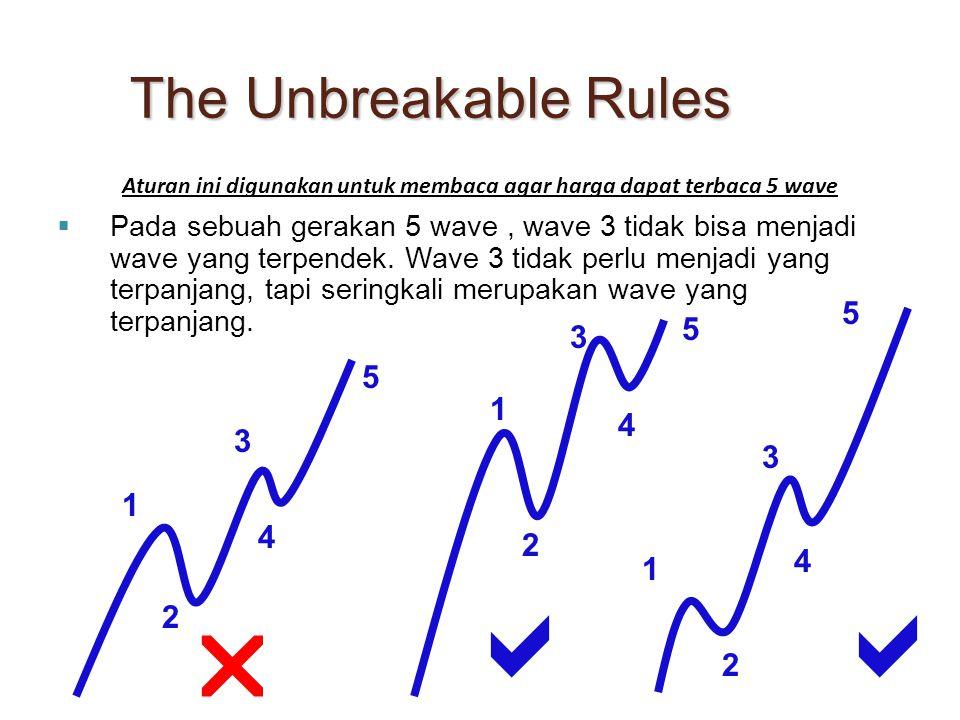  Pada sebuah gerakan 5 wave, wave 3 tidak bisa menjadi wave yang terpendek. Wave 3 tidak perlu menjadi yang terpanjang, tapi seringkali merupakan wav