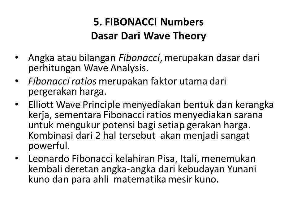 5. FIBONACCI Numbers Dasar Dari Wave Theory Angka atau bilangan Fibonacci, merupakan dasar dari perhitungan Wave Analysis. Fibonacci ratios merupakan
