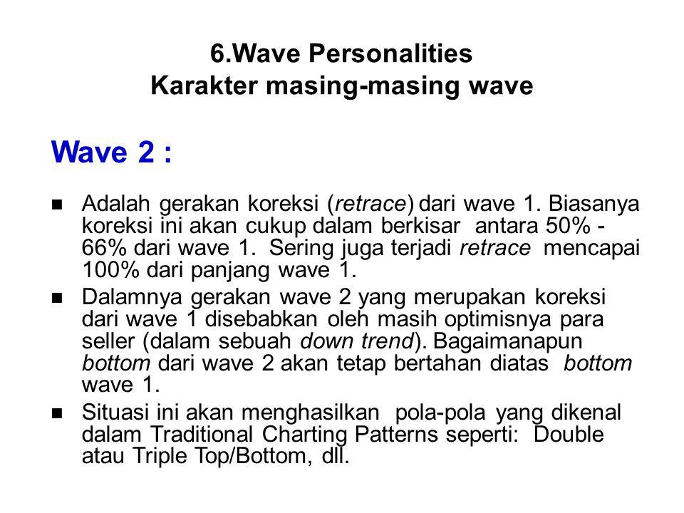 Wave 2 : Adalah gerakan koreksi (retrace) dari wave 1. Biasanya koreksi ini akan cukup dalam berkisar antara 50% - 66% dari wave 1. Sering juga terjad