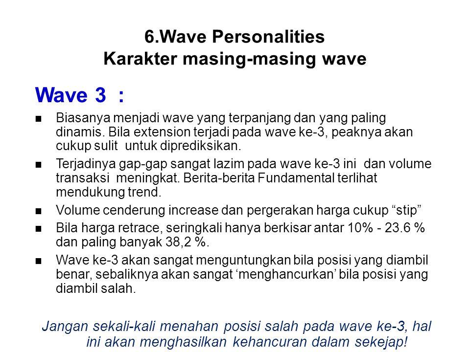 Wave 3 : Biasanya menjadi wave yang terpanjang dan yang paling dinamis. Bila extension terjadi pada wave ke-3, peaknya akan cukup sulit untuk dipredik