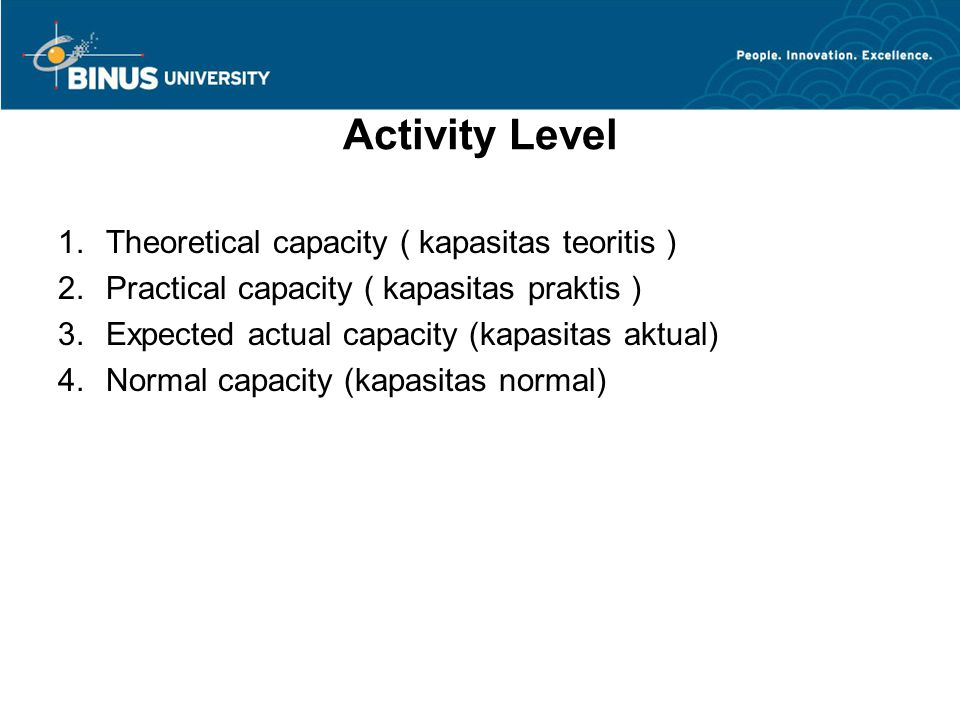 Activity Level 1.Theoretical capacity ( kapasitas teoritis ) 2.Practical capacity ( kapasitas praktis ) 3.Expected actual capacity (kapasitas aktual)