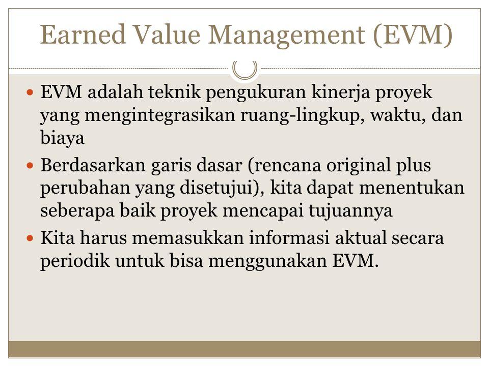 Earned Value Management (EVM) EVM adalah teknik pengukuran kinerja proyek yang mengintegrasikan ruang-lingkup, waktu, dan biaya Berdasarkan garis dasar (rencana original plus perubahan yang disetujui), kita dapat menentukan seberapa baik proyek mencapai tujuannya Kita harus memasukkan informasi aktual secara periodik untuk bisa menggunakan EVM.